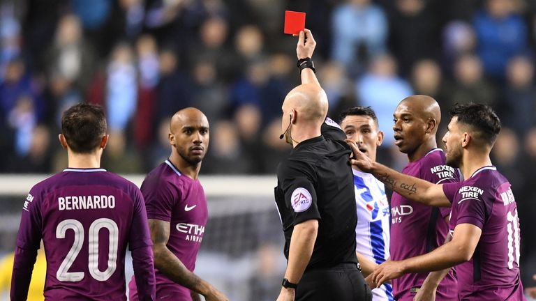 Fabian Delph was sent off in the first half for City