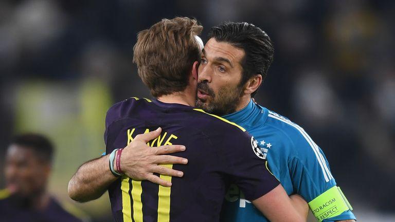 Harry Kane embraces Gianluigi Buffon after the first leg of the last-16 showdown