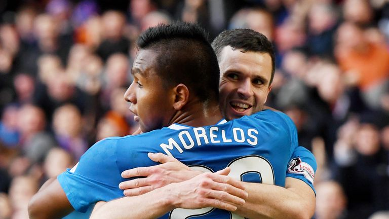 Rangers' Jamie Murphy celebrates his goal with Alfredo Morelos