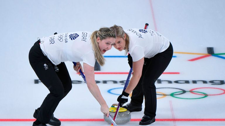 Britain's Lauren Gray (L) and Britain's Vicki Adams brush in front of the stone at the Winter Olympics