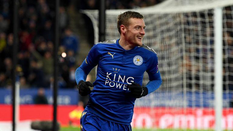 Leicester striker Jamie Vardy celebrates his winner against Sheffield United