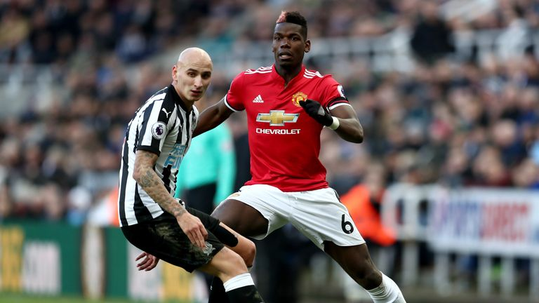 Jonjo Shelvey outshone Paul Pogba in the midfield battle at St James' Park on Sunday