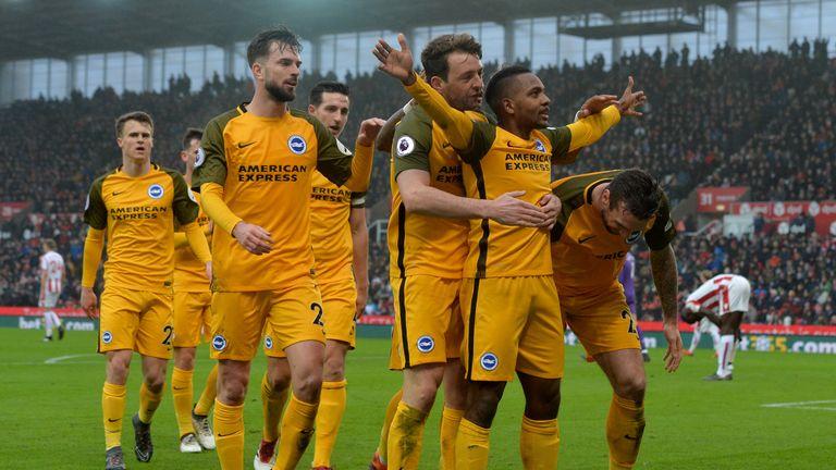 Jose Izquierdo (right) celebrates after opening the scoring for Brighton