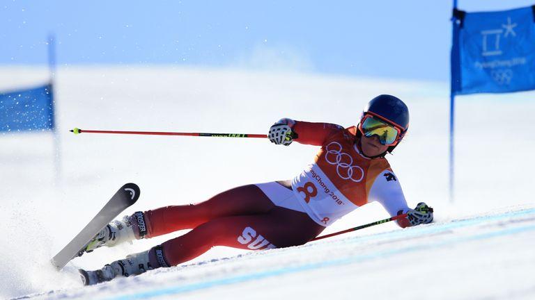 Lara Gut of Switzerland crashes during the ladies' giant slalom on day six of the Pyeongchang Winter Olympics