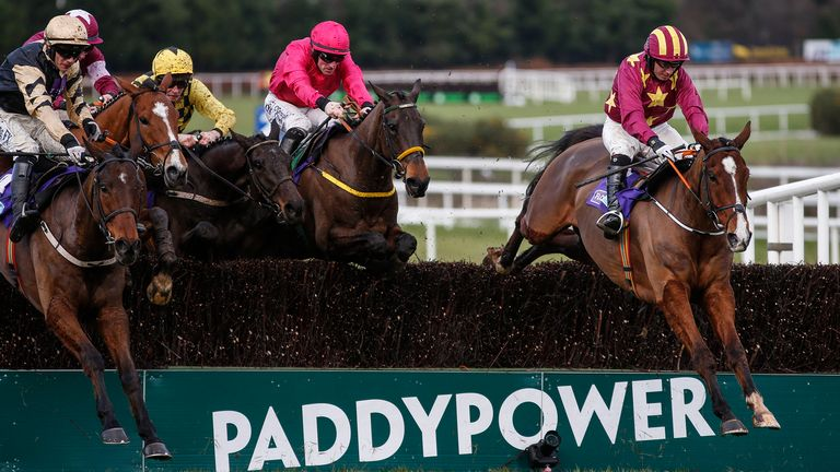 Noel Fehily riding Monalee (R) clear the last to win the Flogas Novice Chase at Leopardstown