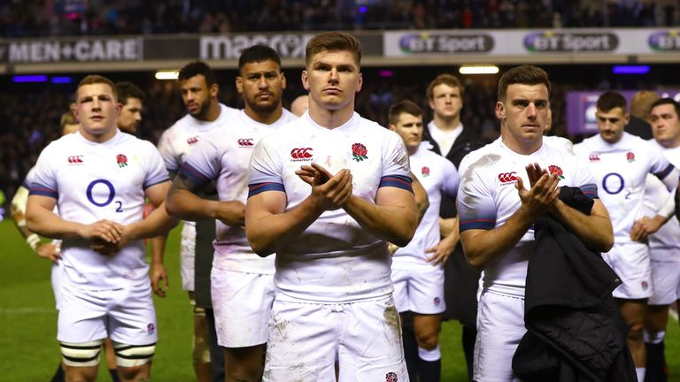 Owen Farrell and George Ford of England show their disappointment after the defeat