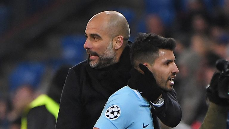 Guardiola congratulates Aguero after City's emphatic win in Basel