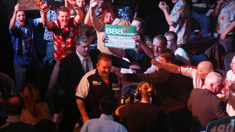 Phil Taylor takes to the stage on the first ever night of Premier League Darts at Stoke's King's Hall