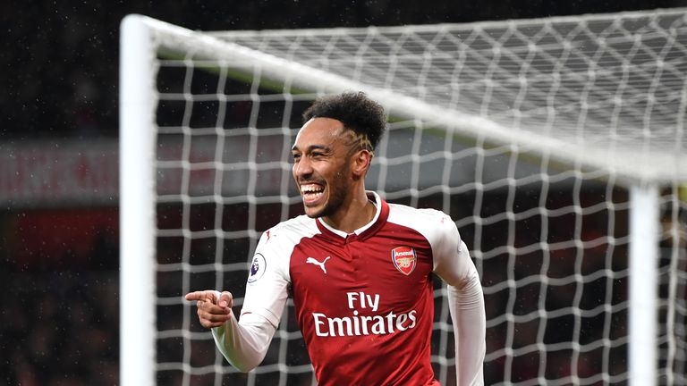 Pierre-Emerick Aubameyang celebrates after scoring Arsenal's fourth