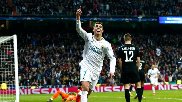 Cristiano Ronaldo celebrates his second Real Madrid goal