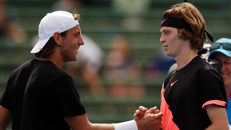 Andrey Rublev got the better of Lucas Pouille at the Kooyong exhibition last month