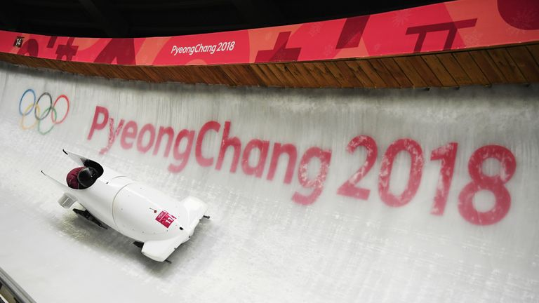 Nadezhda Sergeeva and Anastasia Kocherzhova of Olympic Athlete from Russia slide during the Women's Bobsleigh