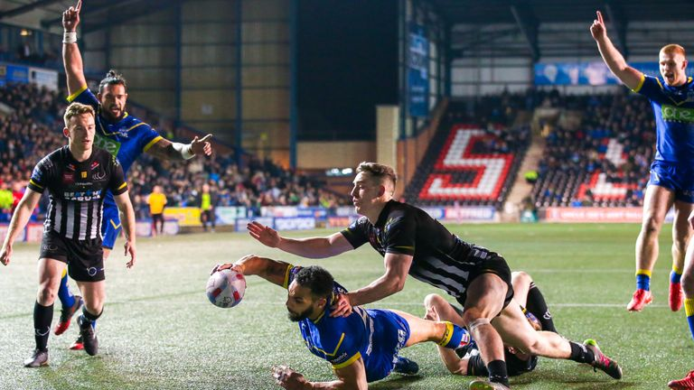 Ryan Atkins scored twice as Warrington claimed the bragging rights at neighbours Widnes