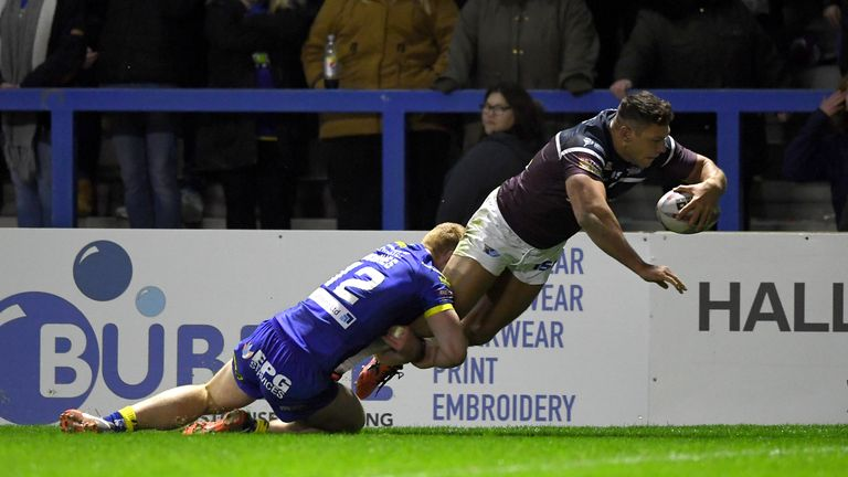 Ryan Hall goes over for his first try