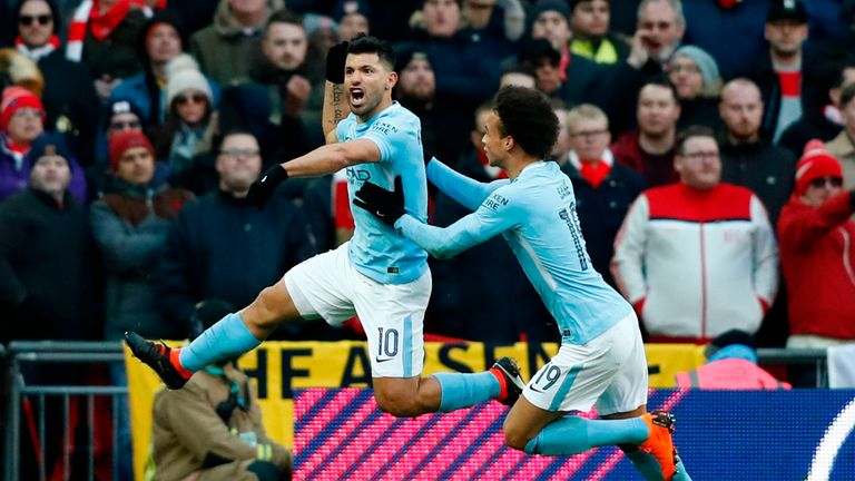 Sergio Aguero scored City's first goal in the Carabao Cup final