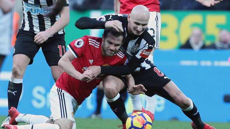 Jonjo Shelvey and Juan Mata clash in Newcastle's surprise win at St James' Park