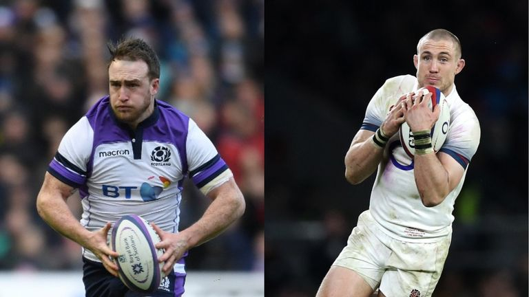 Scotland's Stuart Hogg is up against England's Mike Brown