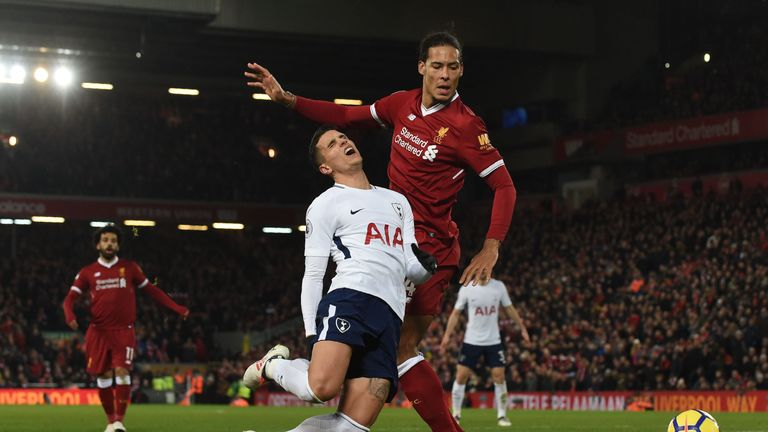 Van Dijk conceded a late penalty with a foul on Erik Lamela on Super Sunday