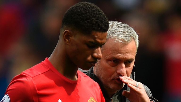 Manchester United manager Jose Mourinho talks with striker Marcus Rashford as they leave the pitch at the end of the game against Swansea at Old Trafford