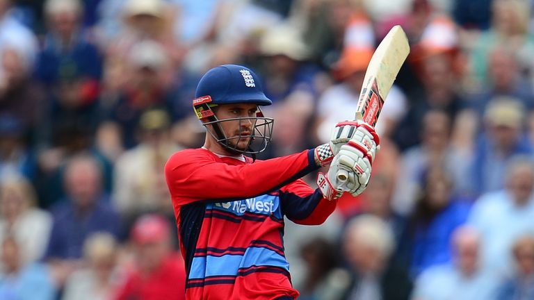 Alex Hales of England bats during the 3rd NatWest T20 International between England and South Africa at the SWALEC Stadium
