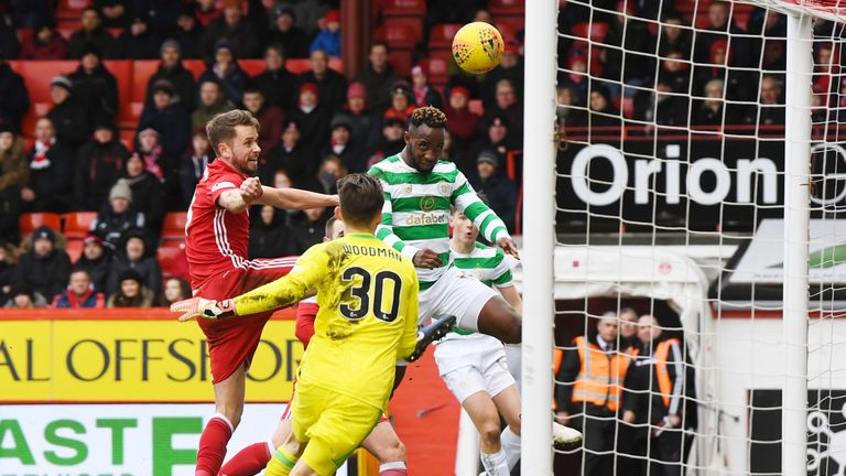 Celtic's Moussa Dembele scores to make it 1-0 against Aberdeen