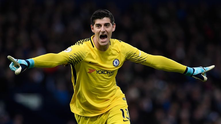 WEST BROMWICH, ENGLAND - NOVEMBER 18:   Thibaut Courtois of Chelsea celebrates his side's second goal during the Premier League match between West Bromwich