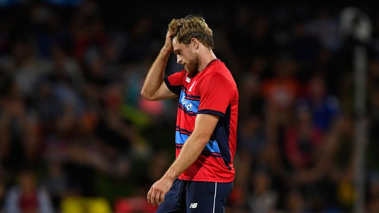 England bowler David Willey reacts during the International Twenty20 match between New Zealand and England at Seddon Park