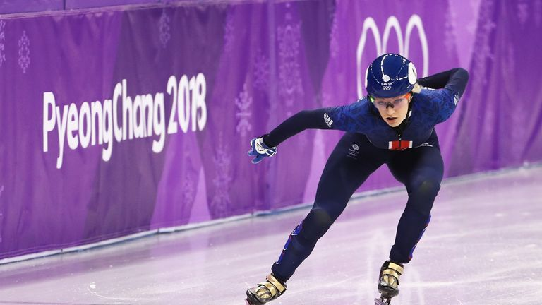 Elise Christie of Great Britain competes during the Short Track Speed Skating Ladies' 1500m heats on day eight of the Winter Olympics