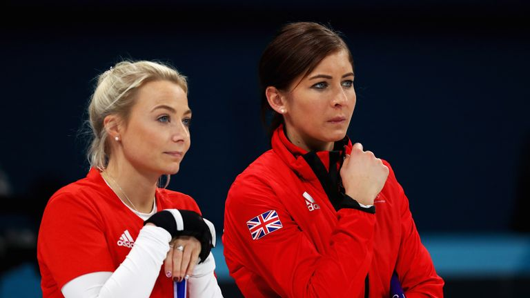 GANGNEUNG, SOUTH KOREA - FEBRUARY 18:  (L-R)  Anna Sloan and Eve Muirhead of Great Britain compete during the Women Curling round robin session 7 on day ni