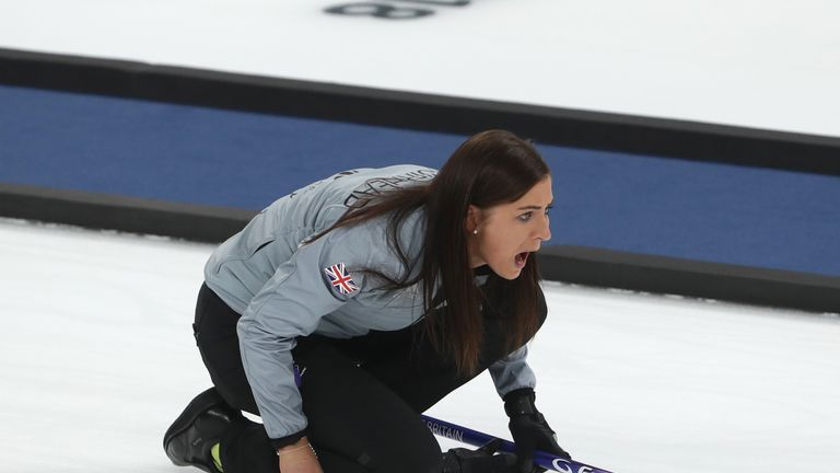 GANGNEUNG, SOUTH KOREA - FEBRUARY 23:  Eve Muirhead of Great Britain reacts during the Women's Semi Final match between Great Britain and Sweden on day fou