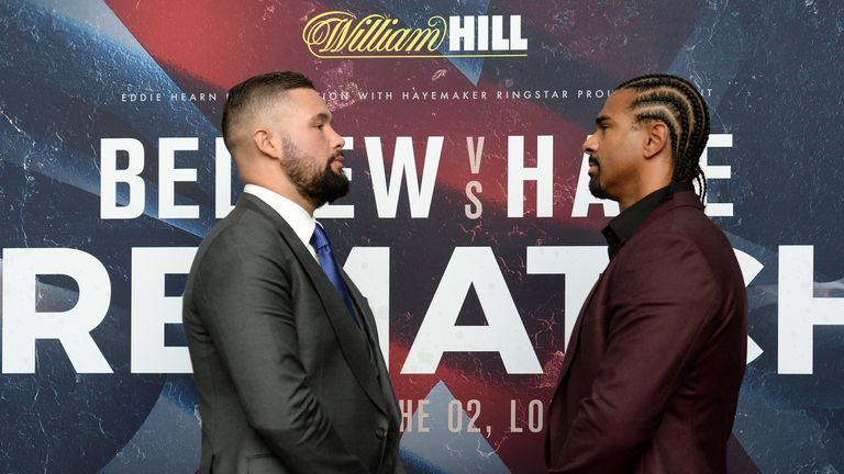 Tony Bellew (left) and David Haye during the press conference at Park Plaza Westminster Bridge, London.
