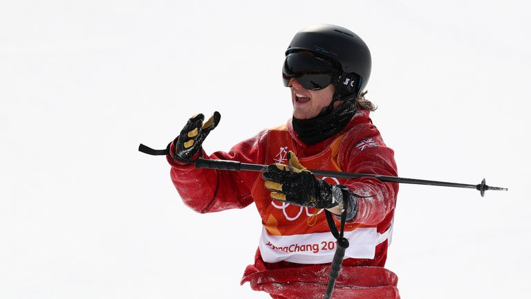 PYEONGCHANG-GUN, SOUTH KOREA - FEBRUARY 18:  An injured James Woods of Great Britain reacts after he crashes during the Freestyle Skiing Men's Ski Slopesty