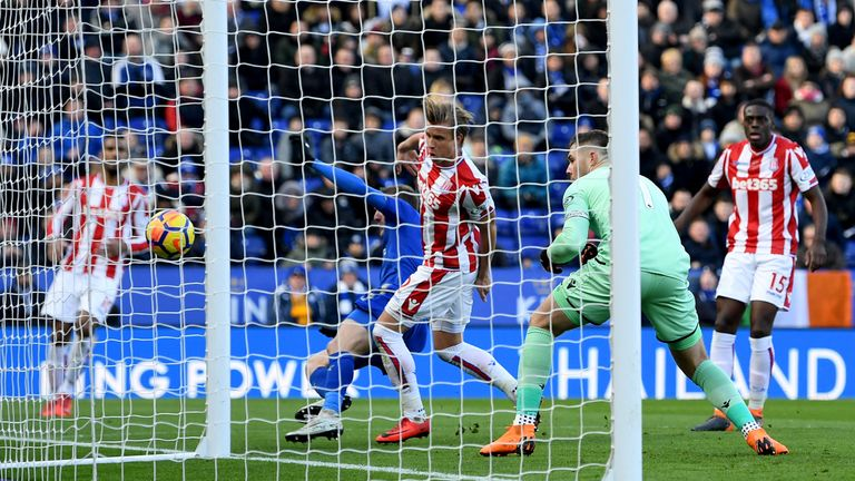 Jack Butland scores an own goal to bring Leicester City level at home to Stoke City