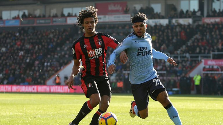 BOURNEMOUTH, ENGLAND - FEBRUARY 24:  Nathan Ake of AFC Bournemouth chases down Deandre Yedlin of Newcastle United during the Premier League match between A