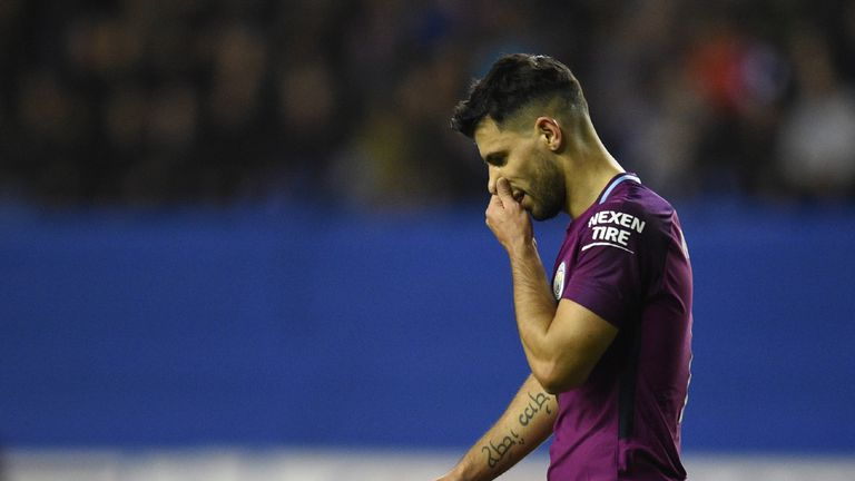 Manchester City's Argentinian striker Sergio Aguero reacts during the English FA Cup fifth round football match between Wigan Athletic and Manchester City