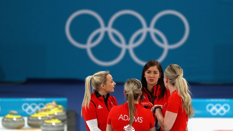 GANGNEUNG, SOUTH KOREA - FEBRUARY 24:  Eve Muirhead, Anna Sloan, Vicki Adams and Lauren Gray of Great Britain during the Curling Womens' bronze Medal match
