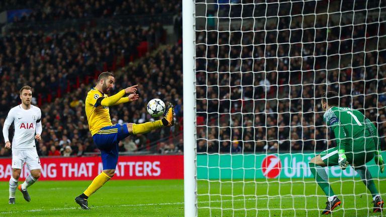 Gonzalo Higuain equalises at Wembley
