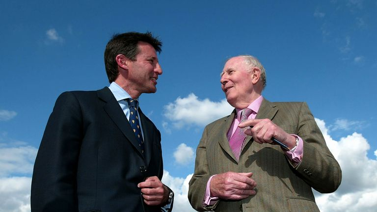 Lord Coe and Sir Roger Bannister pictured on the 50th anniversary of Bannister breaking the four-minute mile