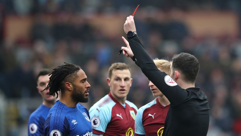 Williams is shown a red card against Burnley