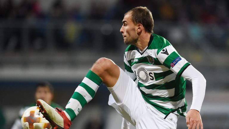 Bas Dost had a stoppage-time penalty saved for Sporting against Viktoria Plzen