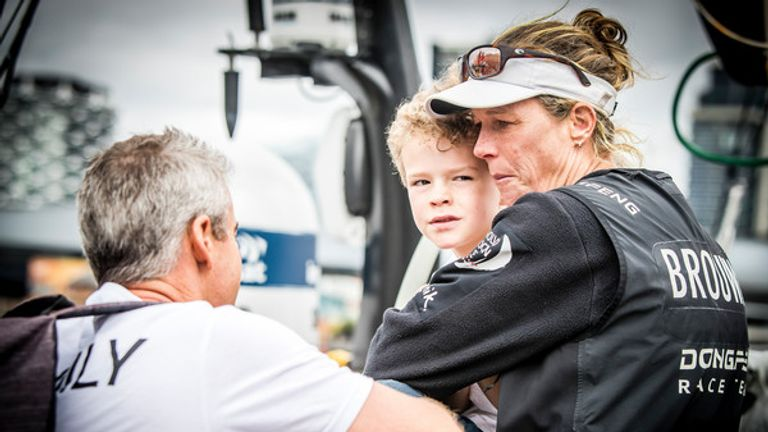 Brouwer with her son Kyle after arriving in Melbourne at the end of Leg 3 (Pic: Jesus Renedo/Volvo Ocean Race)