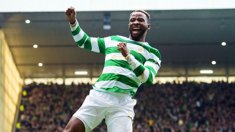 Celtic's Moussa Dembele celebrates scoring one of his seven goals against Rangers since moving to Scotland.
