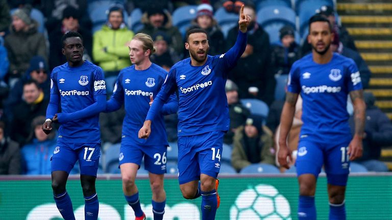 Everton's Cenk Tosun celebrates after scoring the opening goal of the game during the Premier League match at Turf Moor