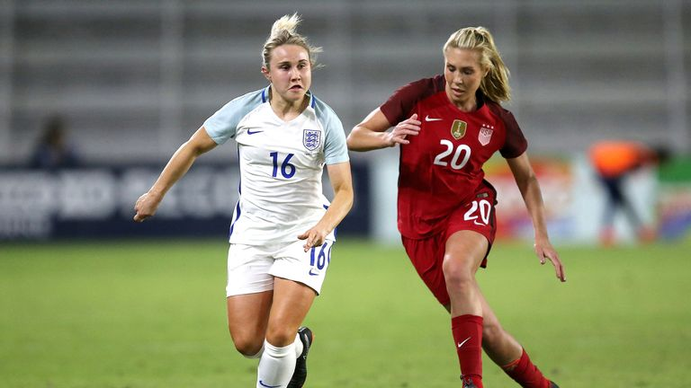 Izzy Christiansen (left) menaced the American defence in  a hard-fought contest