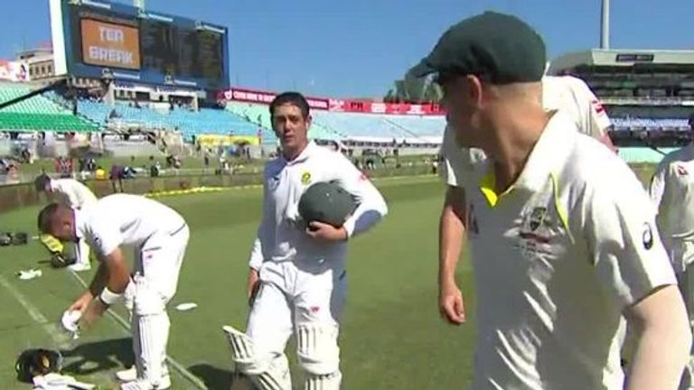 Warner in heated exchange with spectator after dismissal
