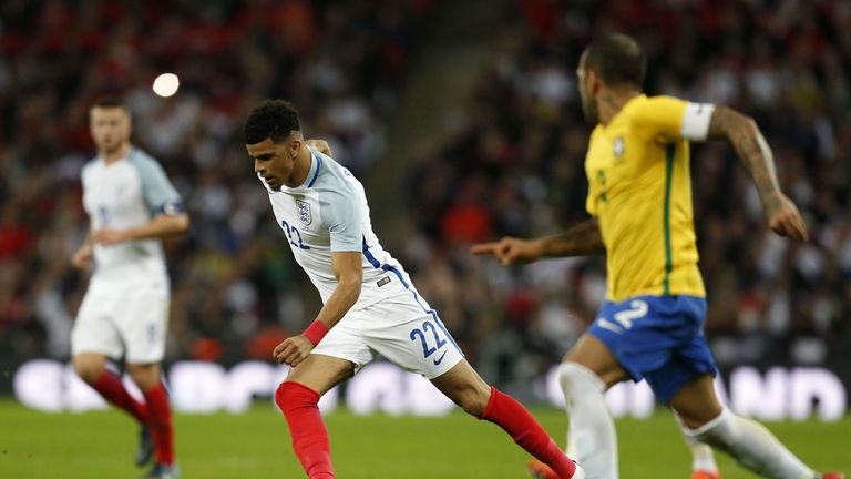 Dominic Solanke's England debut saw him come up against the likes of Dani Alves