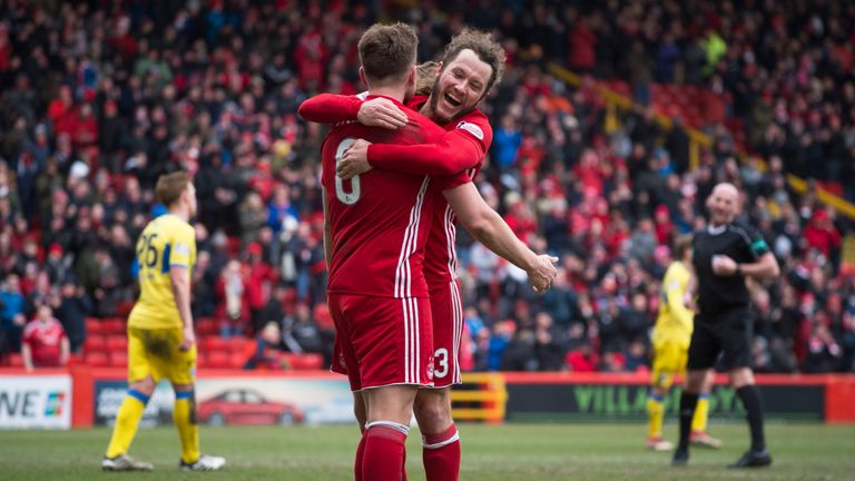 Aberdeen's Greg Stewart (L) celebrates his second goal with Stevie May