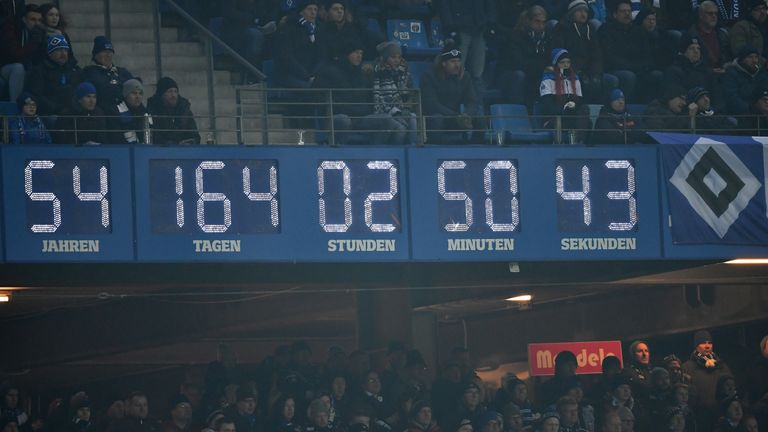 A clock in Hamburg's stadium displays their ever-present run in the Bundesliga
