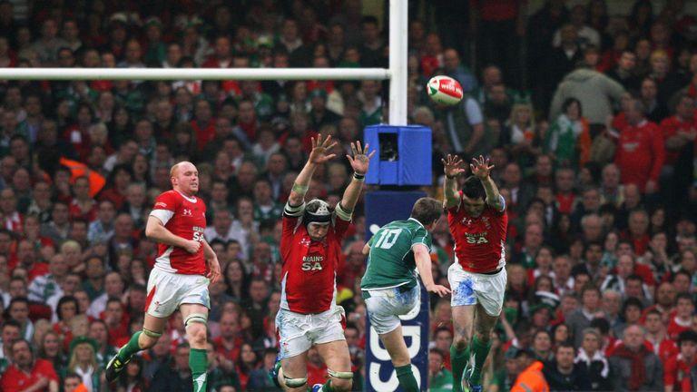 Ronan O'Gara connecting with his late drop-goal in Cardiff