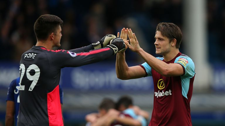 Nick Pope (L) played in Burnley's win at Watford